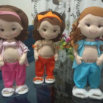 Bonecas em Feltro Gravidas com nome do bebê na Barriga