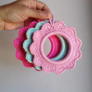 Molduras em crochê - Kit Cereja Pink
