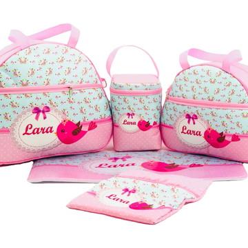 Kit Bolsa Maternidade Bebê Personalizada 5 Peças Luxo