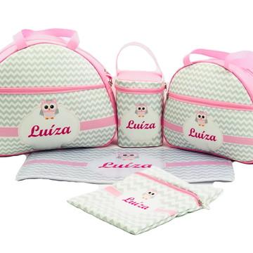 Kit Bolsa Maternidade Bebê Personalizada 5 Peças Luxo Coruja