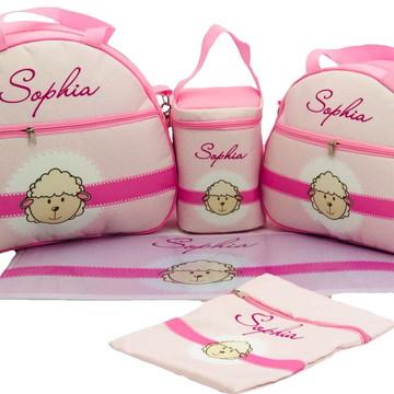 Kit Bolsa Maternidade Bebê Personalizada 5 Peças Luxo Rosa