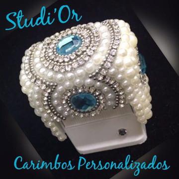 Carimbo luxo personalizado em Perolas com Pedrarias Tiffany