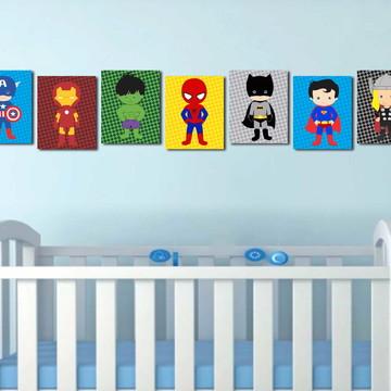 7 Quadros Heróis baby
