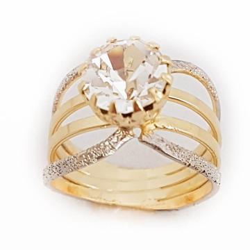 Anel Feminino Diamante Dourado Zirconia Banhado A Ouro 18k.