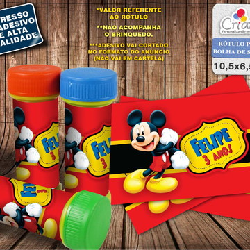 Rótulo Bolha de Sabão - Mickey Mouse