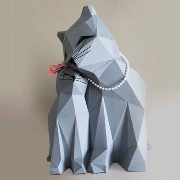 Casal gatinhos em papel 3d Low Poly paper