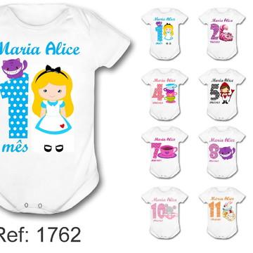 Body Mesversário kit 12 meses Alice cute