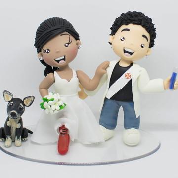 Topo de Casamento Noivinhos Cientista com Cachorro