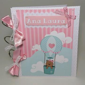 Álbum livro do Bebê personalizado 50 fotos menina ursa balão