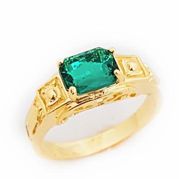 Anel Formatura Verde Esmeralda Folheado a Ouro 18k