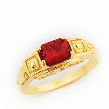 Anel Vermelho Rubi Formatura Folheado a Ouro 18k