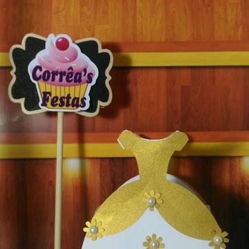 Caixa Vestido Princesas Dourado