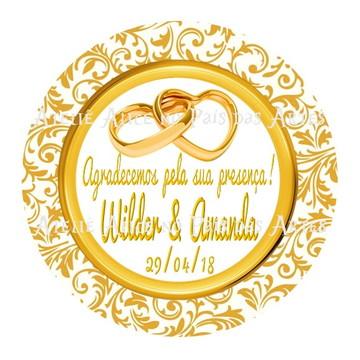 Tag adesivo de agradecimento dourado para casamento 5 cm