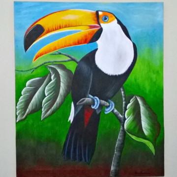 Quadro Decorativo Pintura Tucano