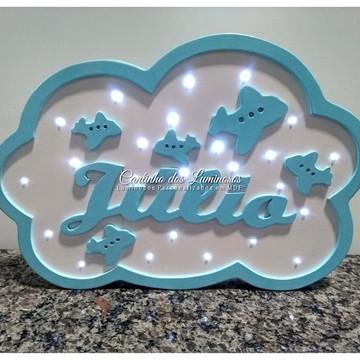 Luminoso Led Personalizado Nuvem com Nome em 100% MDF.