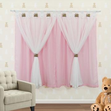 Cortina infantil Flor de Liz rosa bebê 200x180 com ursa