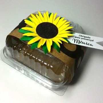 Embalagem para doce com decoração de girassol