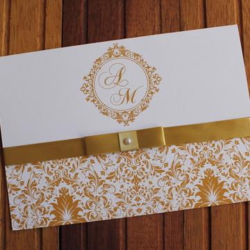 Convite Casamento - Convite 15 anos - 240g dourado marsala
