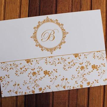 Convite 15 anos - Convite de Casamento - 240g floral dourado