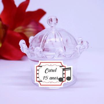 Mini-coroa com aplique com texto - notas musicais