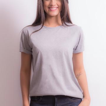 Blusa Camiseta Básica Feminina Cinza Mescla