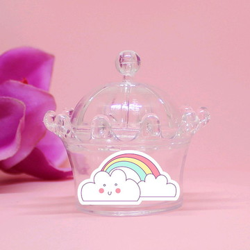 Mini-coroa com aplique - arco-íris e nuvens