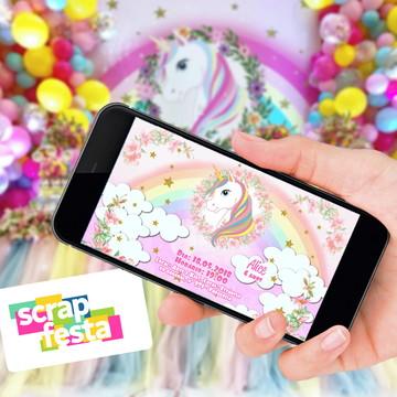 Convite Arte Digital Personalizada Festa Unicórnio