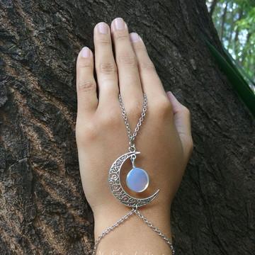 Pulseira Hippie de Mão Lua Encantada com Pedra da Lua