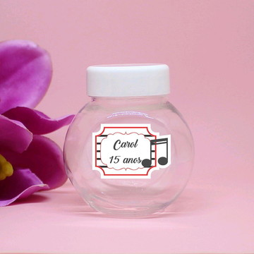 Mini-baleiro de plástico com texto - notas musicais