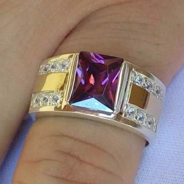 Anel prata zirconias colorida dois apliques ouro