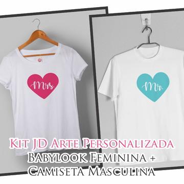 Kit Babylook + Camiseta Masc. Mrs e Mrs.