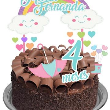 Topo de bolo 3D - Chuva de Amor