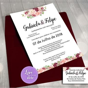 Convite Casamento Marsala - Digital