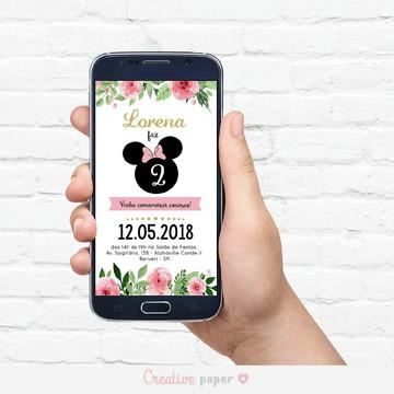 Convite Digital Minnie Floral