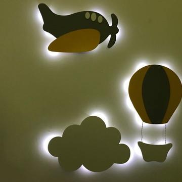 Trio Luminárias Decorativas Avião Nuvem Balão LED MDF