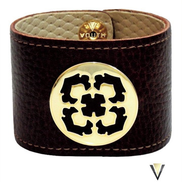 Bracelete De Couro Feminino Marrom Com Dourado