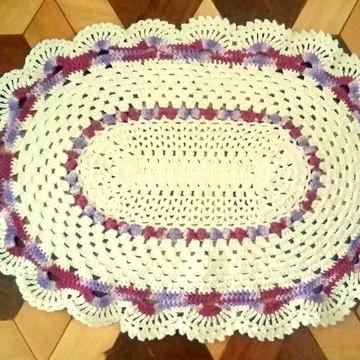 Tapete oval de crochê Pronta Entrega