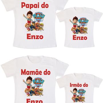 Kit 4 Camiseta Aniversário Paw Patrol