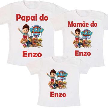 Kit 3 Camisetas Aniversário Paw Patrol + Frete Grátis