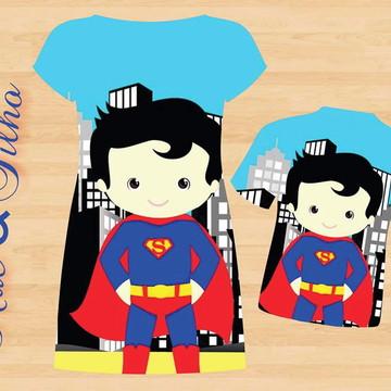 Kit Pai Mãe e Filho Super Man Cute - 3 peças