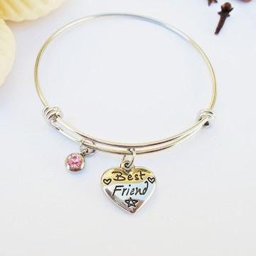 Bracelete INFANTIL Aço Inox 360L BEST FRIENDS Strass Rosa