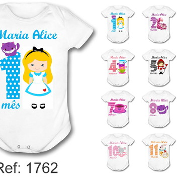 Body Mesversário personalizado nome kit 12 meses Alice cute