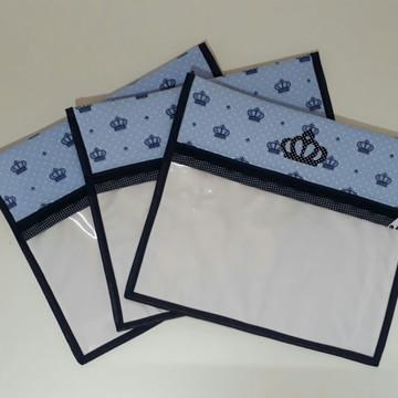 Kit Saquinho Maternidade Coroa Azul- 3 Unidades