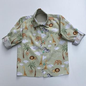 Camisa safari manga comprida