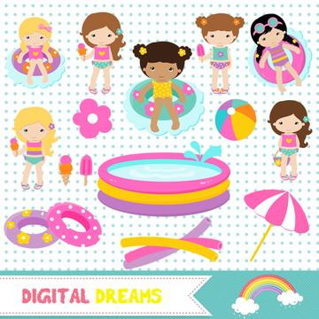 Kit Digital Festa na Piscina Menina 1