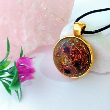 Pingente de Orgonite - Flor dourada pequena