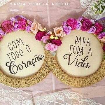 Placa de cadeira dos noivos Tons Violeta e lilás
