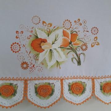 Pano De Prato - Pintado A Mão - Ponta De Crochê - Flores