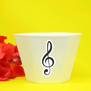 Vasinho/cachepô com aplique - notas musicais clave de sol