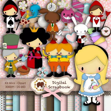 Kit Scrapbook Digital - Alice clipart